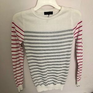 Energie White/Pink/Silver Striped Light Sweater